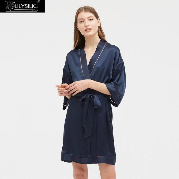 LilySilk Robe Silk Women Chic Ladder Stitching Trim Luxury NEW Women's Clothing Free Shipping