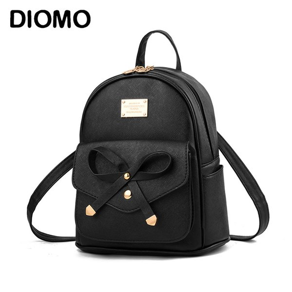 DIOMO Women's Mini Backpack Luxury PU Leather Kawaii Backpack Cute Graceful Bagpack Small School Bags for Girls Bow-knot