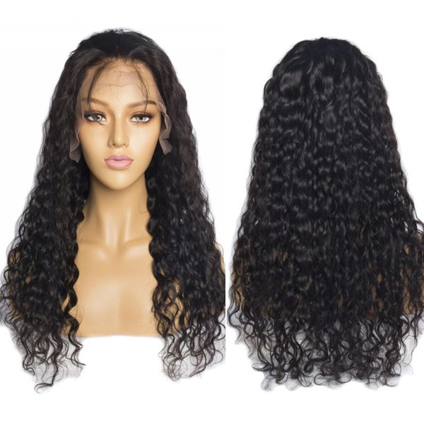 best selling Modern Show Water Wave Hair Wigs Pre Plucked Hairline Malaysian Virgin Human Hair Wigs 150% Density With Baby Hair