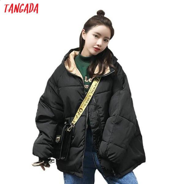 Tangada mulheres algodão acolchoado parkas oversize espessura 2019 Inverno feminino espessura quente casaco com capuz preto solto 7 cores plus size