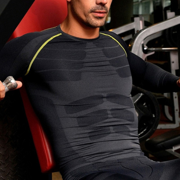 Men Fitness Breathable Compression Base Layer Long Sleeve Sports Gear Shirts GYM Sports T-shirt Tops M-XL k5