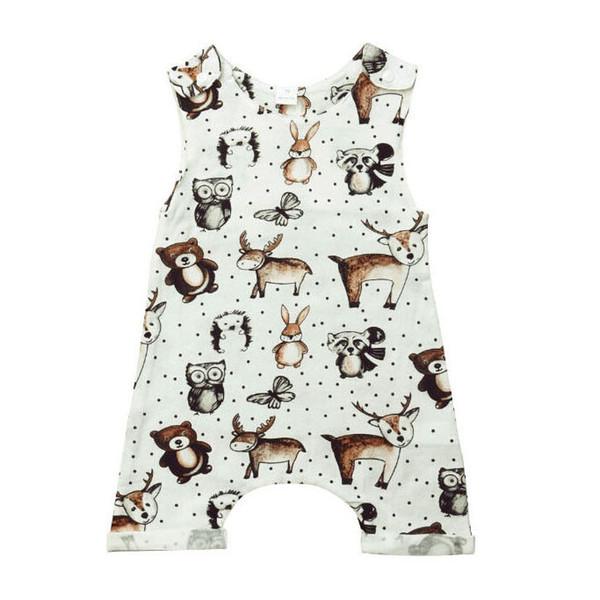 0f6d13290978 Baby Kids Boys Girls Toddler clothes round neck sleeveless cotton casual  Romper animal print newborn cute