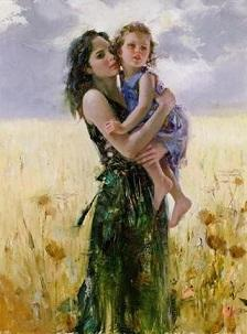 Pino Daeni Mother and Daughter Close to My Heart High Quality Hand-painted /HD Print Portrait Art Oil Painting On Canvas Multi sizes 15