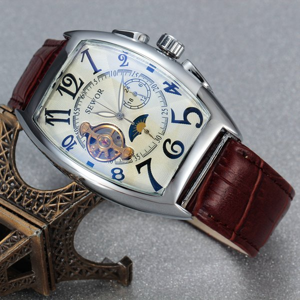 Sewor Classic Tourbillon Wrap Mens Watches Brand Luxury Automatic Watch Golden Case Calendar Male Clock Black Mechanical Watch J190706