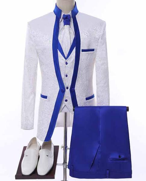 WL White Royal Blue Rim Stage Clothing For Men Suit Set Mens Wedding Suits Costume Groom Tuxedo Formal