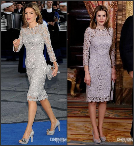 Grigio madre della sposa abiti al ginocchio lunghezza 2019 elegante manica lunga pizzo sposo madre abiti robe de soiree abiti da ballo formale