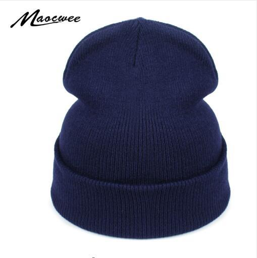 Women Hat Solid Knitted Beanie Winter Hats for Women Mens Ladies Unisex Bone Cotton Spring Autumn Keep Warm Skull Cap 2019