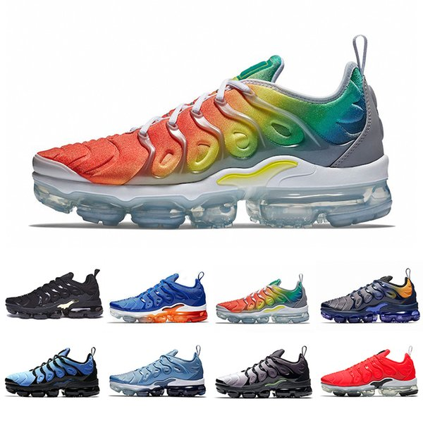 2019 Rainbow TN Plus Cushion Running Athletic Shoes Game Royal HYPER VIOLET RED SHARK TOOTH TRIPLE BLACK Designers Sports Sneakers 36-45