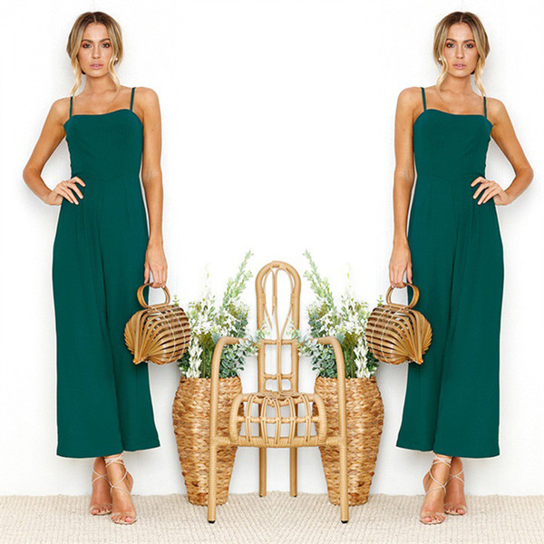 Sexy Strap Chiffon Solid color Women jumpsuit Green romper Elegant wide-leg jumpsuit long overall Solid summer playsuit DR49