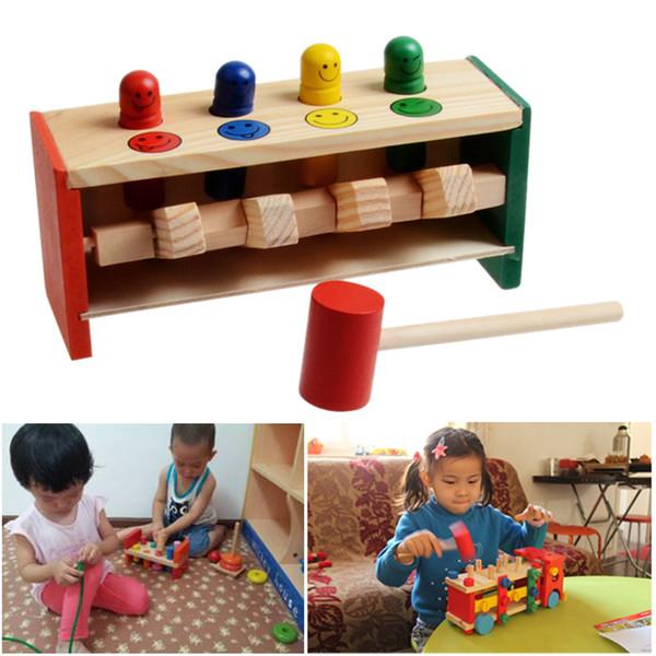 Klasik Oyuncaklar Gürültü Maker Bebek Ahşap Oyuncaklar El Vurma Oyunu Çekiç Tezgah Çekiç Oyuncak Çocuk Yürüyor Oyunları Çocuklar Eğitici Oyuncak Hediye