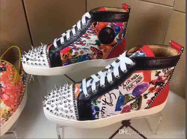 Scarpe casual da uomo nere Graffiti Fashion High Top Red Bottom Scarpe da ginnastica stringate da donna, Scarpe piatte unisex di design Primavera Autunno
