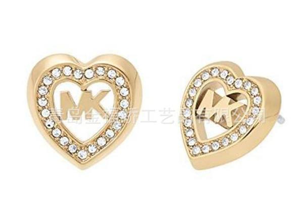 2019 oro rosa e argento con diamante a forma di tamburo a forma di cuore con orecchini di diamanti Orecchini a bottone 23718