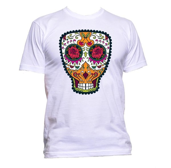 Sugar Skull Multi-Coloured With Cherry T-Shirt Mens Womens Unisex Fashion Slogan jersey Print t-shirt