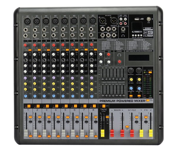 8Channels 24Bit digital Effect 48V phantom 2x380W USB Powered Mixer SMR838