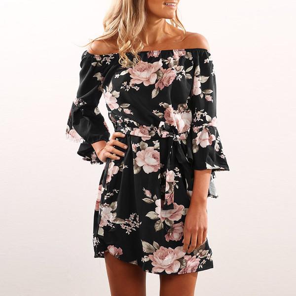 Femmes Robe 2018 D'été Sexy De L'épaule Floral Imprimer Mousseline De Soie Robe Boho Style Court Party Robes De Plage Robes de fête