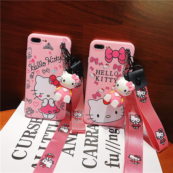 KT Cat Phone Case Doll Bracket For Iphone Xs Max Xr 6 7 8 X Plus Lanyard Soft TPU All-Inclusive Cell Phone Cases