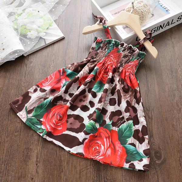 Hot Kids Clothes Girls Beach Dress New 2019 Summer New Baby Children Big Flowers Leopard Rose Cool Sling Girls Dress