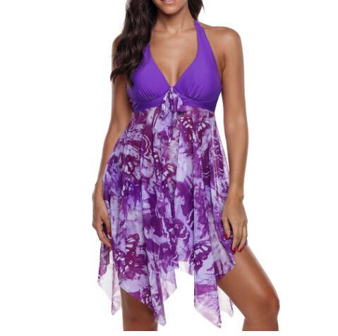 Women Print Swimwear Tankini Asymmetric Hem Halter Swimdress And Panty Beachwear swimming suit for women plus size two pieces
