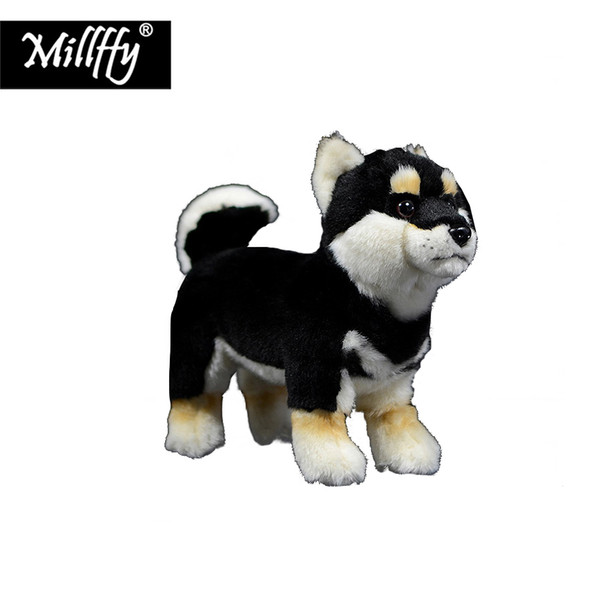 Dropshipping peluche stuffed animal Japanese black and tan shiba inu dog puppy small size turf dog plush puppy soft toy for kids