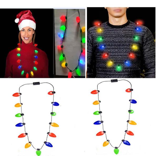 Lâmpada LED Piscando Colar Lâmpadas Lanterna Luminosa Decorações de Natal Charme Favor de Partido Favor Suprimentos 100 pcs EEA526