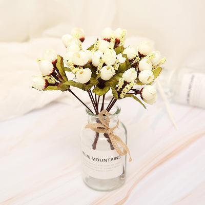 DHL ENVÍE 15 cabezas ramo brácteas artificiales rosas artificiales flores de seda rosa bricolaje boda casa decoración de Navidad flores rosa regalo