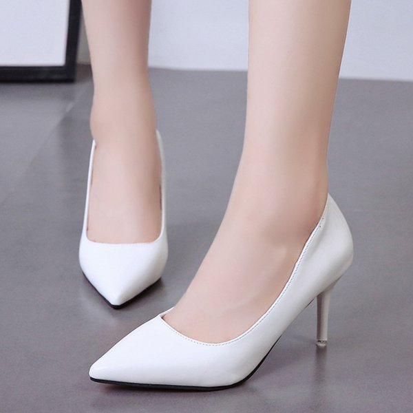 Designer Dress Shoes Big Size For Women Pointed Toe High Heels Patent Leather White Wedding Black Dress Office Lady Woman 6949