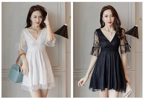 Summer 2019 New Lace Ball Gown Sexy V-neck Low Chest Short Sleeve Fairy Night Club Dress Short Skirt QC0255