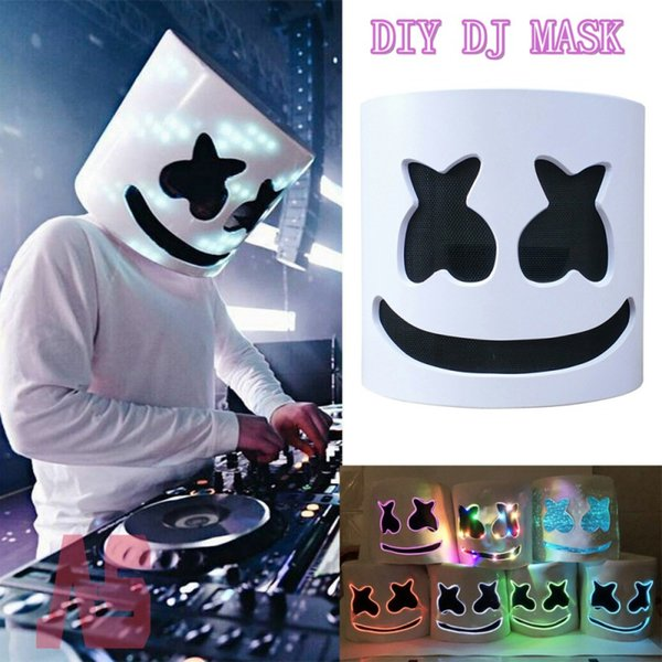 DJ Musik Festival LED Leucht Helm Maske Halloween Beliebte Cosplay Prop Party Bar DJ Masken Marshmallow Maske Dropshipping