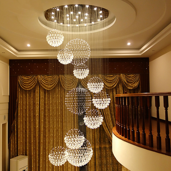 customized led crystal chandelier light large ceiling hanging suspension fixtures staircase light round hall villa pendant light