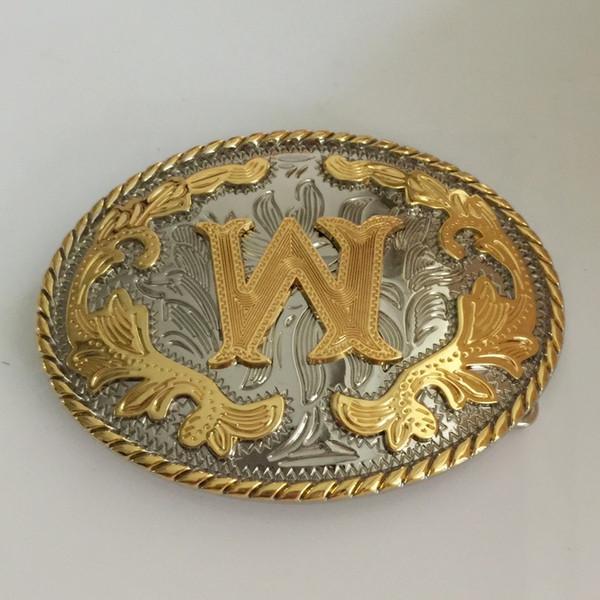 1 Pcs Oval Legal 3D Lace Ouro Letra Inicial W Fivela de Cinto de Metal Com Mulheres Dos Homens Cinto Cabeça Jóias Para 4 cm de Larg ...