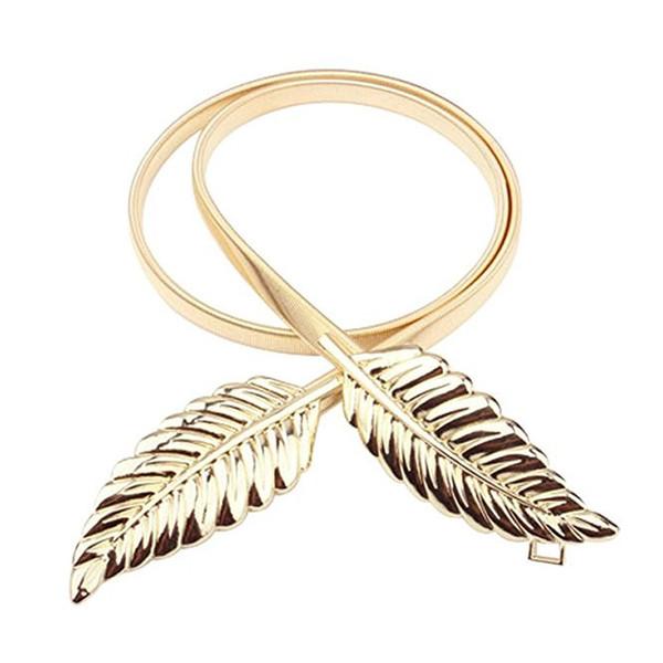 Femmes ceintures ceintures vintage élastiques feuille d'or conception ceintures pour robes style été fermoir ceinture en métal ceinture or / argent