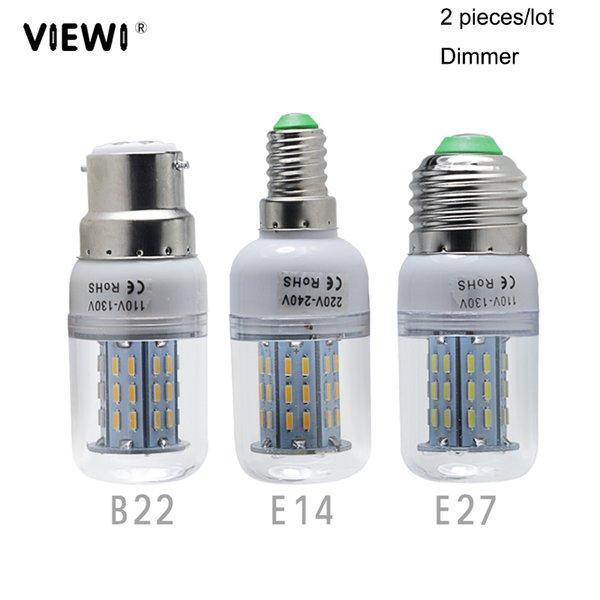 2X lampadas led corn bulb light E27 E14 B22 dimmer 110v 220v 4W high quality dimmable home candle spotlight energy saving lamps