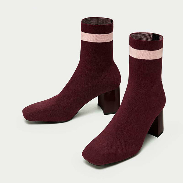 Jookrrix 2018 Autumn New Fashion Elastic Sock Boots High Heels Knitting Shoes Women Sexy Lady Booties Pointed Toe Mid Calf Black