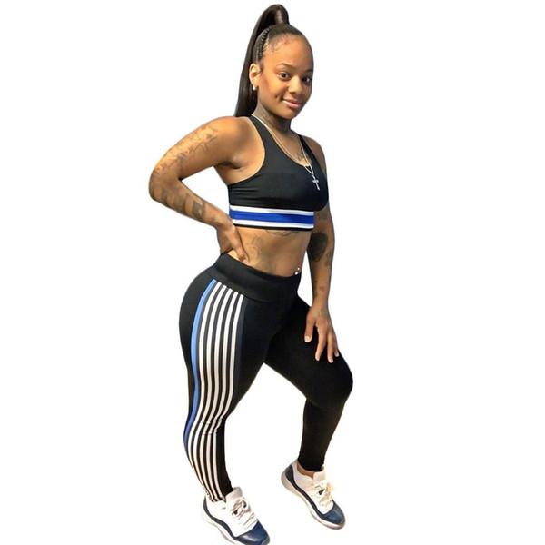 Yeni Moda Kadınlar Kare Yaka Kontrast Renk Yelek ve Düzenli fit Pantolon Sportwear Rahat, Spor Seti Yok