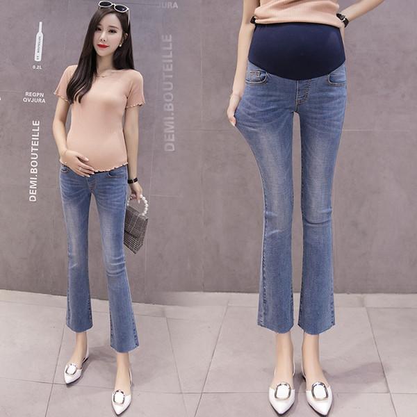 9/10 Longueur Denim Mode Taille Élastique Denim Maternité Ventre Jeans Pantalons Vêtements pour Femmes Enceintes Grossesse Crayon Pantalon