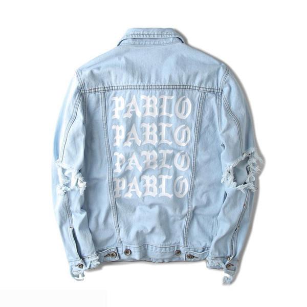 Hot sales KANYE west Jacket album PABLO denim jacket washing do old damaging yeezus Big broken suprme & apes men Jackets