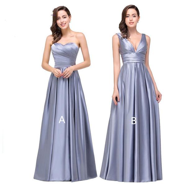Compre Vestidos De Dama De Honra De Cetim Longo Rendas Até Vestido De Festa 2019 Comprimento De Assoalho Novo Vestidos De Convidados De Casamento