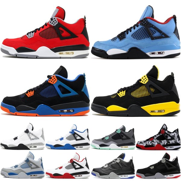 Beste Qualität 4 Hohe Basketballschuhe Männer Grün Glow Schwarze Katze Raptor Angst Pack Cool Grey Marke 4 s Designer Sneakers Sportschuhe