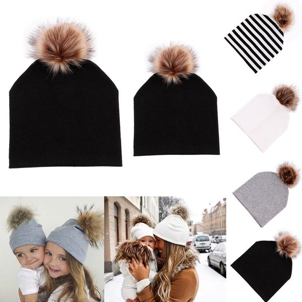 Mom and Baby Hat Winter Warm Women Kids Cotton Hat Caps Infant Girls Fur Pompom Ball Beanie Boy Cotton Soft Cute Cap Gift