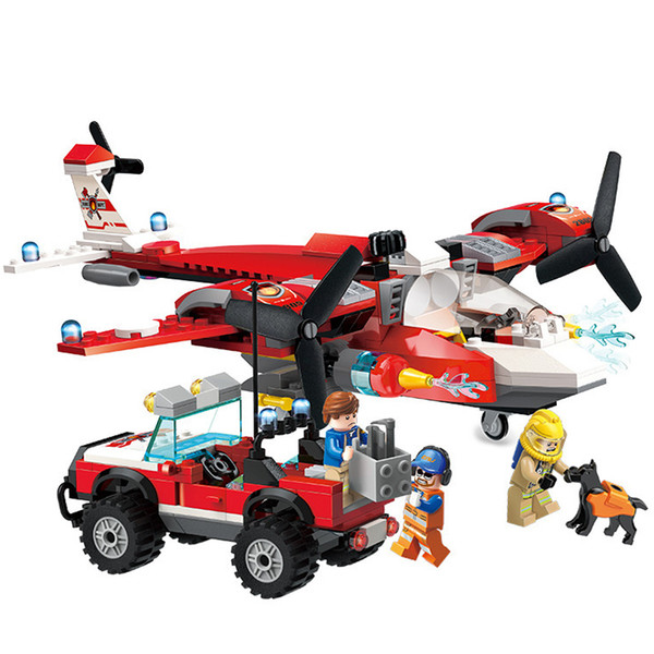 369pcs Children's Building Blocks Toy Compatible City Forest Search And Rescue Team Fire Truck Firefighting Aircraft J190719