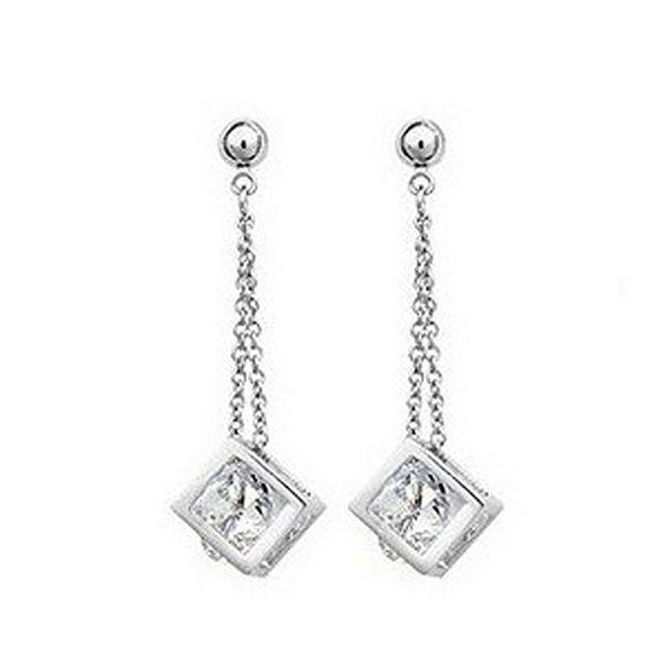 J Store Romantic Super Shiny Crystal Cube Earrings with White CZ Stones Chains Long Women Elegant Wedding Jewelry Brincos JJ007
