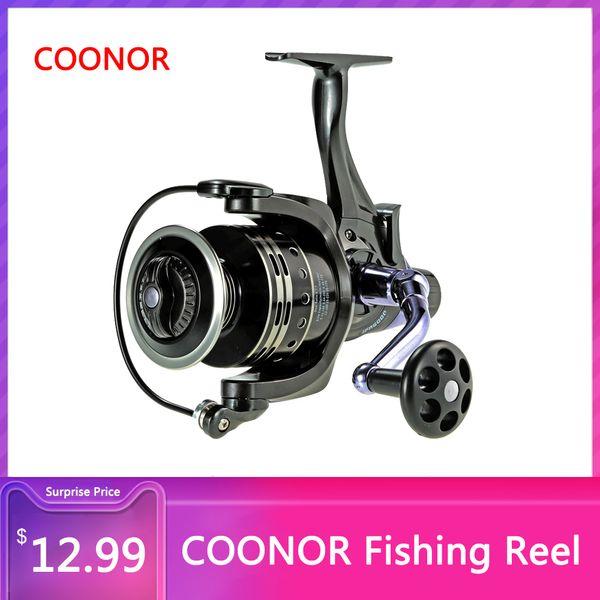 filatura Coonor pesca Carp Fishing Spinning Reel 11 + 1 cuscinetti a sfera 4: 7: 1 Pesca pesci da esca per Dual Brake Destra / Left Hand Aluminum