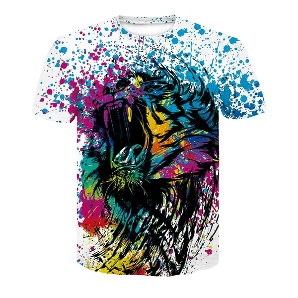 2019 New Printed Tiger Short-Sleeve Colorful Tiger T-Shirt Stylish Quick-drying Comfortable Men's Top