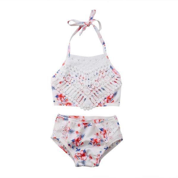 Sevimli Bebek Çocuk Kız Çiçek Tığ Halter İki parça Mayo Küçük Kız Yaz Mayo Mayolar Bikini Set Kıyafetler 2-5 T