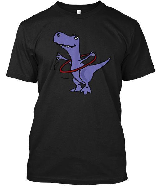 Komik T Rex Dinozor Hula Hoop Ile Popüler Tagless Tee T Gömlek