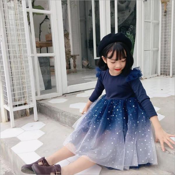 Desgaste niñas vuelo de manga larga de malla tutú vestido de los niños del estilo coreano Ins vestido de otoño de los niños de la estrella Impreso de malla vestido de princesa