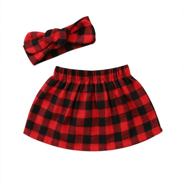 2 Parça Noel Yenidoğan Bebek Kız Noel Ekose Etekler VE Kafa Rahat Kıyafetler Giysileri