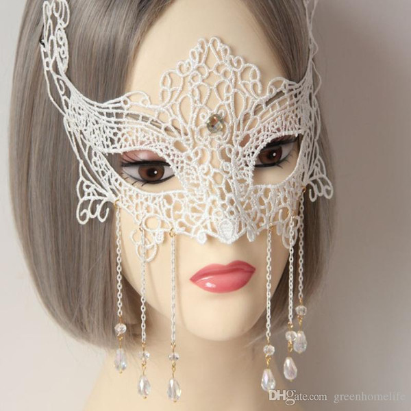 Máscaras del partido blanco Máscaras de encaje de las mujeres atractivas Máscaras elegantes de la bola Cosplay Princesa Masquerade Party Disfraz Disfraz