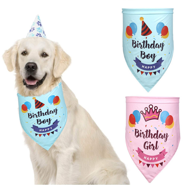 top popular Pet Birthday Saliva Towel Pet Cat Dog Bandana Bibs Scarf Collar Happy Birthday Dual Layers Dog Collar Saliva Towel 2020