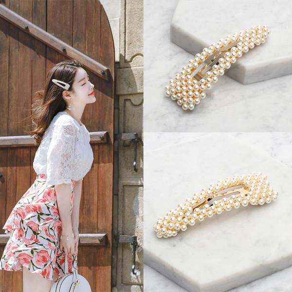 """M MISM 3.5"""" Women Girls Korean Fashion Imitiation Pearls Hair Clips Simple Flower Hairpins Headmade Barrettes Hair Accessories"""